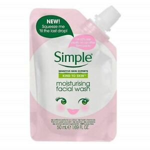Simple Kind To Skin Moisturising Facial Wash Pouch 50ml X 4------ FREE POSTAGE