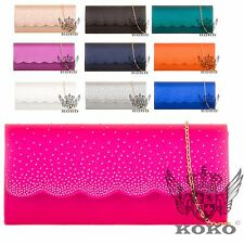 Ladies RainDrop Gem Detail Clutch Bag Party Cocktail Evening Purse Handbag KL764