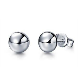 NEW Pure Platinum 950 Stud Earrings 4mm Half Ball Stud