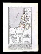 1849 Houze Map - Canaan - Abraham Israel Palestine Old Testament Jerusalem