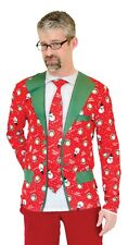 Large Faux Real Costume Shirt Xmas Christmas Ugly Suit Jacket Tie Funny Party