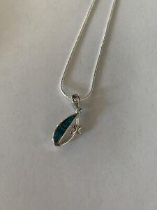 BLUE Fire Opal Kunzite Silver Gems Pendant With Chain-N12421