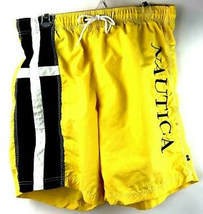 "Vtg Nautica Swim Trunks Men's Size L Flag Logo Spell Out Embroidered 7.5"" inseam"