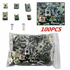100Pcs Car Interior Door Panel Fastener Fixed Screw U Type Gasket Fender Clips