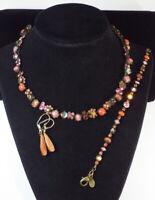 Sorrelli CRYSTAL Necklace Bracelet Earrings Set RED PINK Shimmering Antique Tone