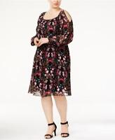 INC Womens Plus Size Dress Chiffon Crinkle Print Cold Shoulder Shift Dress $129