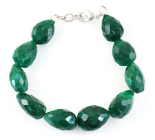 250.00 Cts Earth Mined Faceted Green Emerald Pear Shape Beads Handmade Bracelet