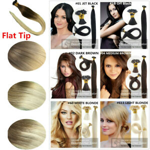 """14""""-30"""" Pre Bonded Flat Tip Keratin Remy Human Hair Extensions 1G thick hair"""