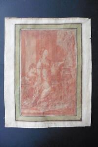 FRENCH SCHOOL 18thC - THE VESTAL VIRGINS - RED CHALK DRAWING CIRCLE VIEN