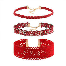 3PCS Charm Women Gothic Rhinestone Red Pendant Chain Choker Collar Bib Necklace