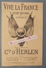 Partition VIVE LA FRANCE Chant National Conte d'HERLEN Collet éditeur Militaria