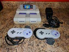 Super Nintendo System Console SNES + 2 Controller + Super Mario World Bundle Lot