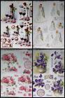 3D A4 Die Cut Paper Tole Decoupage Wine Roses Pansies Wedding Bride No Cutting