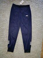 Fila Luzzi Trackpants L Navy Cuffed Tracksuit Trousers 34w 30L