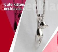 FREE GIFT BAG 925 Sterling Silver Cat Kitten Necklace Chain Cute Birthday Ladies