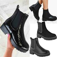 Womens Ankle Chelsea Boots Beaded Studded Elastic Stretch Winter Shoes Size New