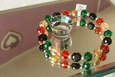 Gorgeous Frosted Yellow/Black/Red/Green Faceted Bead Bracelet