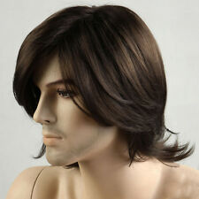 Ladies Men Short Brown Wig 70s Retro Disco Cosplay Synthetic Hair Wigs + Wig Cap