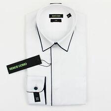 Remus Uomo - Slim Fit Cotton Shirt in White w/ Navy Trim - 15.5/39 - RRP £55