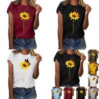 Plus Size Tops Sleeve Summer O-Neck Women Short T-shirt Print Sunflower Blouse