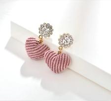 Korean fashion jewelry rhinestone stud lavender velvet heart drop earrings