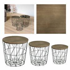 Korb Metall schwarz Beistell Couch Tisch abnehmbare Platte braun-grau Dekokorb