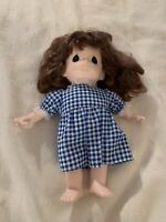 """Vintage Precious Moments Doll With Blue & White Gingham Dress, 11"""" Tall"""