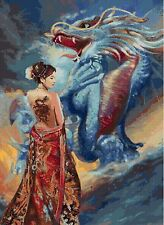 "Dragon & Oriental Beauty Counted Cross Stitch Kit  13"" x 18"" Stunning!"