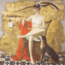 2003 RARE SAMSONOV Mandragora nude naked woman dog Russian modern folding card