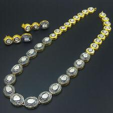 18k Gold Rose Cut Diamond Polki Gorgeous Necklace Earrings Set Jewelry