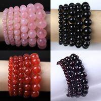 1x Natural Rose Quartz Garnet Agate Crystal Round Beads Stone Bracelet Jewelry