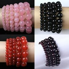 1x Natural Rose Quartz Garnet Agate Crystal Round Beads Stone Bracelet Jewelry