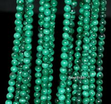 4MM NATURAL MALACHITE GEMSTONE A GENUINE GREEN ROUND 4MM LOOSE BEADS 16""