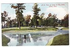 VIEW OF LAKE IN CITY PARK  LIMA OHIO 1908 POSTCARD
