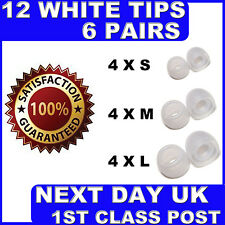 12 NEW WHITE SILICONE EARPHONE TIPS EARBUD SML SENNHEISER SONY SKULL BEATS JVC