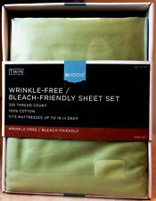 New Target Home Twin Sheet Set 100% Cotton 325 Thread Count Chartreuse Green