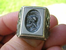 Vtg Sarah Coventry Men's Sterling Silver Intaglio Ring Roman Soldier Mermaid