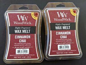 Lot 2 Wood Wick Cinnamon Chai High Fragrance Wax Melt Cubes Yankee Candle Tarts