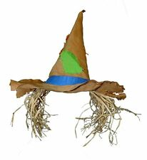 Pointed Raggedy Look Hillbilly Scarecrow Patched Costume Hat with Raffia Hair