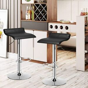 Set of 2 Adjustable Soft PU Leather Counter Bar Stools Pub Dining Chair Swivel