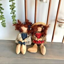 Vintage Cottagecore Small Fabric Dolls Set of Two
