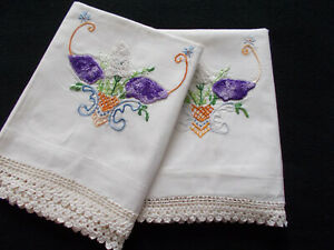 Vtg Hand Embroidered Pillowcases-Purple & White Lilacs-Handmade Cases-33x21