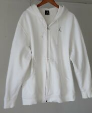 Genuine Michael Jordan Jumpman Hooded Zip White Sweatshirt Pique Arm Pkt VTG L