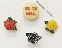 "New! 1 Brandy Melville ""GO TO HELL"" Pin Badge Brooch With Gold Hardware Nwt"