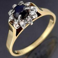 Classic SAPPHIRE & 10 DIAMOND HALO 18k Solid Yellow GOLD Round CLUSTER RING Sz N