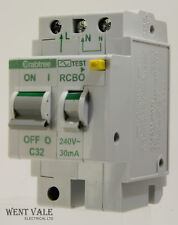 Crabtree Polestar 602C/323 - 32a 30mA Type C Double Pole RCBO Used