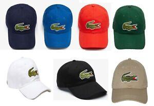 LACOSTE Mens Contrast Strap & Oversized Big Croc Adjustable Cap Hat, PICK COLOR