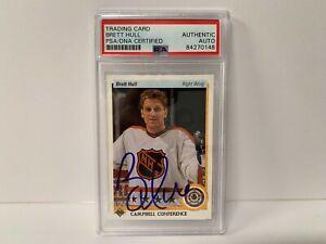 Brett Hull Autographed Signed 1991 Upper Deck Hockey Card PSA Slabbed Certified
