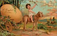 Antique Postcard  PFB EASTER  Child Rides Lamb Pulling Cart w/ Large Egg  p.1908