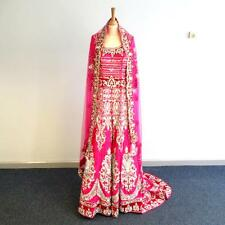 Indian Bridal Party Robe Lehenga Choli Dupatta-rose fuschia-Cristal/velours